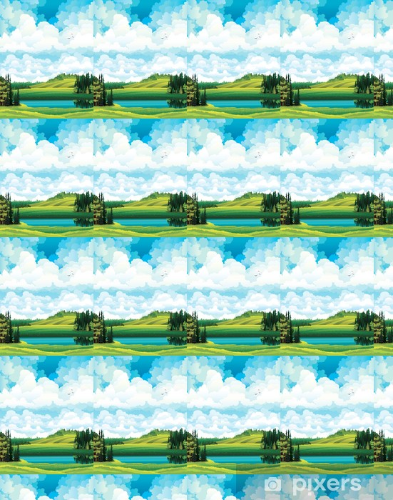 Papier peint vinyle sur mesure Vert vecteur paysage d'été - Saisons