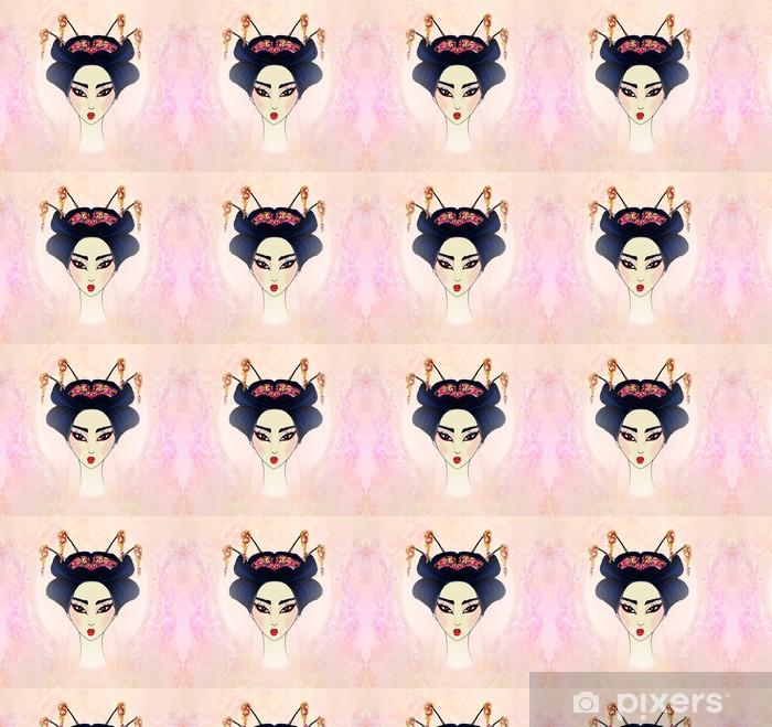 Carta da parati in vinile su misura Astratto bella geisha Ritratto - Donne