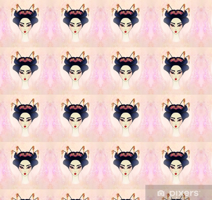 Papier peint vinyle sur mesure Résumé Belle geisha Portrait - Femmes
