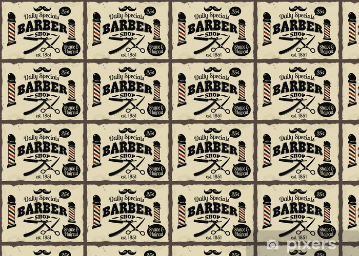 Vintage Styled Barber Shop Wallpaper Vinyl Custom Made