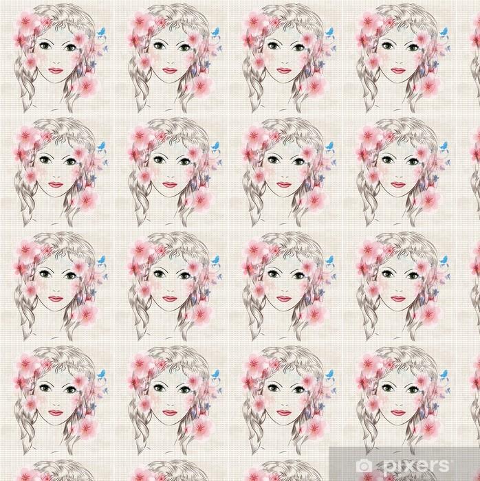 Tapeta na wymiar winylowa Twarz pięknej dziewczyny mody w kwiatach - Kobiety