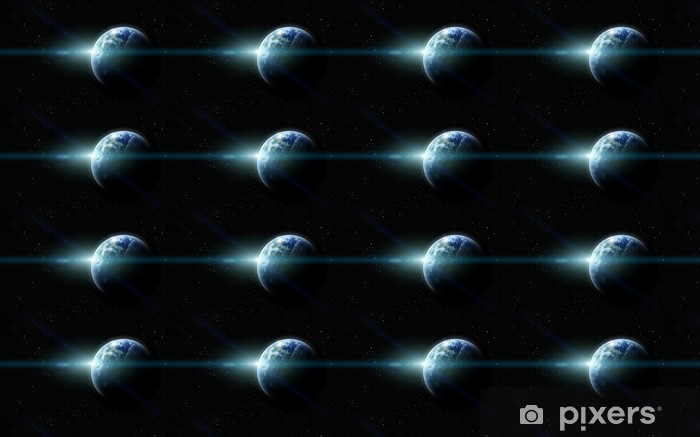 Papier peint vinyle sur mesure La planète terre réaliste dans l'espace - Arrière plans