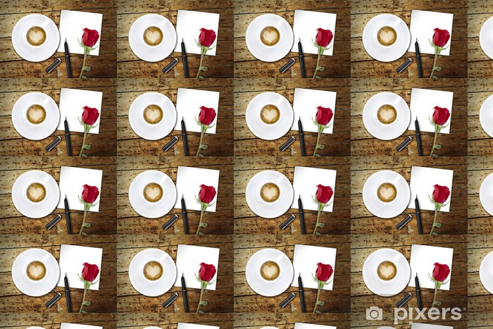 Tapeta na wymiar winylowa Kawa na Walentynki, drewniany stół / vintage z powrotem dzień Valentin - Akcesoria kulinarne