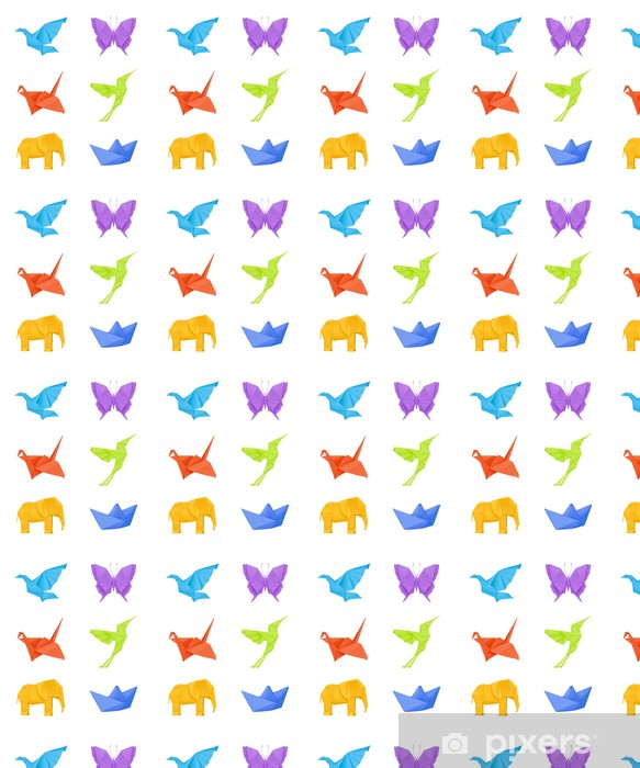 Papier peint vinyle sur mesure Origami ensemble, multicolore - Oiseaux