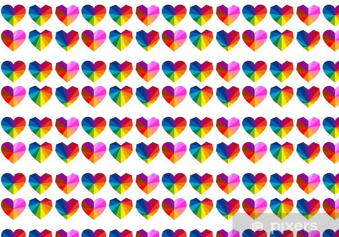 Vinyl behang, op maat gemaakt Kleurrijke harten, vector set - Gelukkig