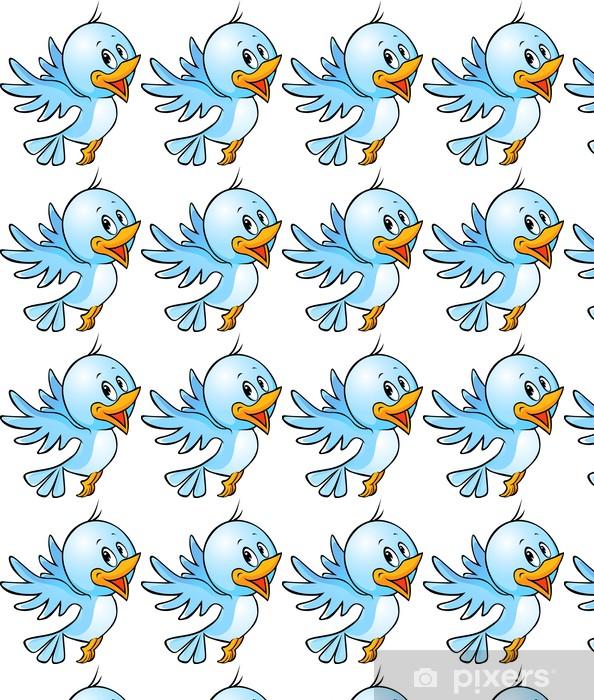 Cute Blue Bird Flying Cartoon Wallpaper Vinyl Custom Made