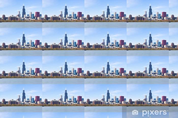 Papel pintado estándar a medida Los rascacielos del centro de Chicago con el lago Michigan - América