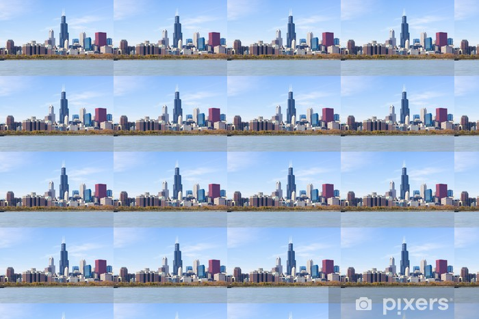 Chicago downtown skyscrapers with lake Michigan Vinyl custom-made wallpaper - America