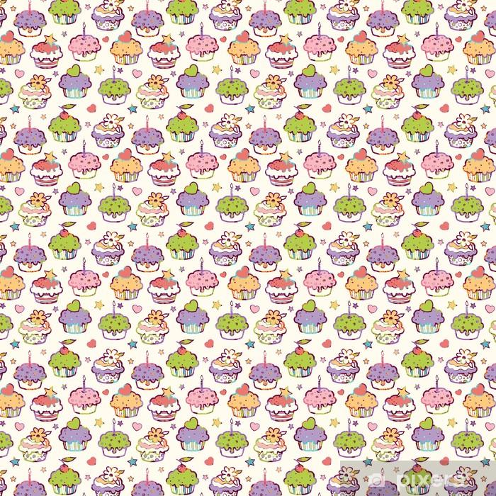 Tapeta na wymiar winylowa Wektor kolorowe babeczki z podmiotami bezszwowe tło wzór z - Słodycze i desery
