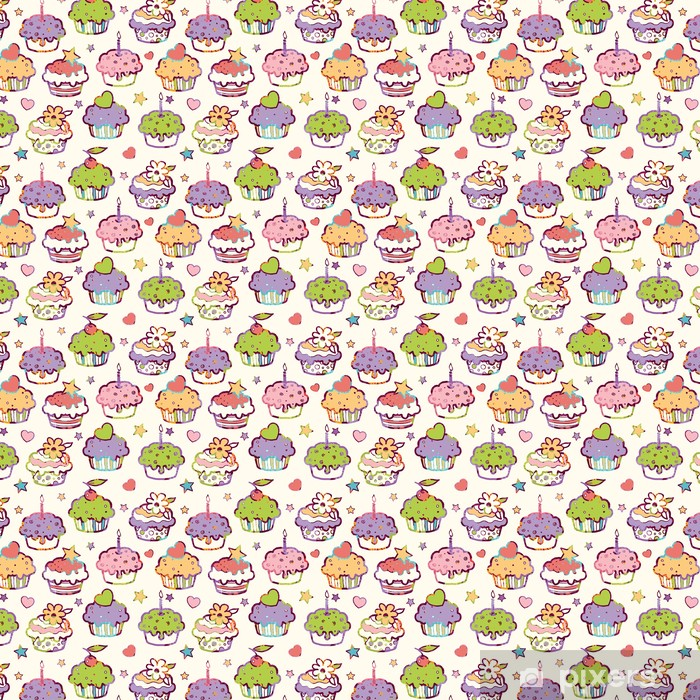 Vector colorful party muffins seamless pattern background with Vinyl custom-made wallpaper - Sweets and Desserts