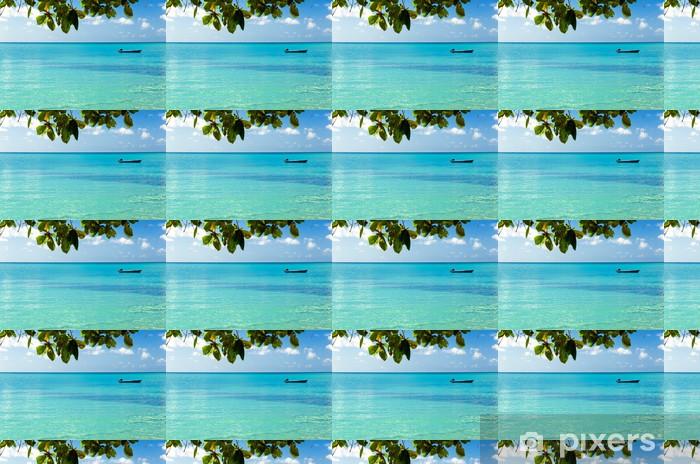 Blue Boat Horizon Vinyl Custom-made Wallpaper - America