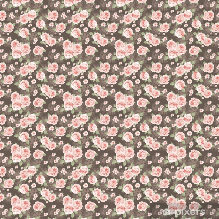 vintage roses over lace seamless background Vinyl custom-made wallpaper - iStaging 2