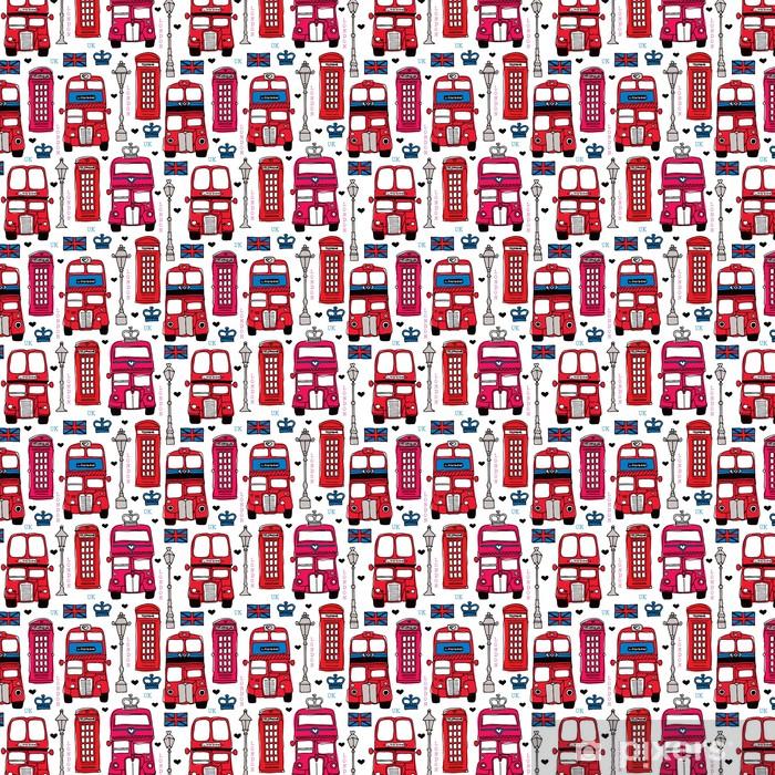 Papier peint vinyle sur mesure Amour London UK voyage icône motif de fond rouge transparente - Passe-temps et loisirs