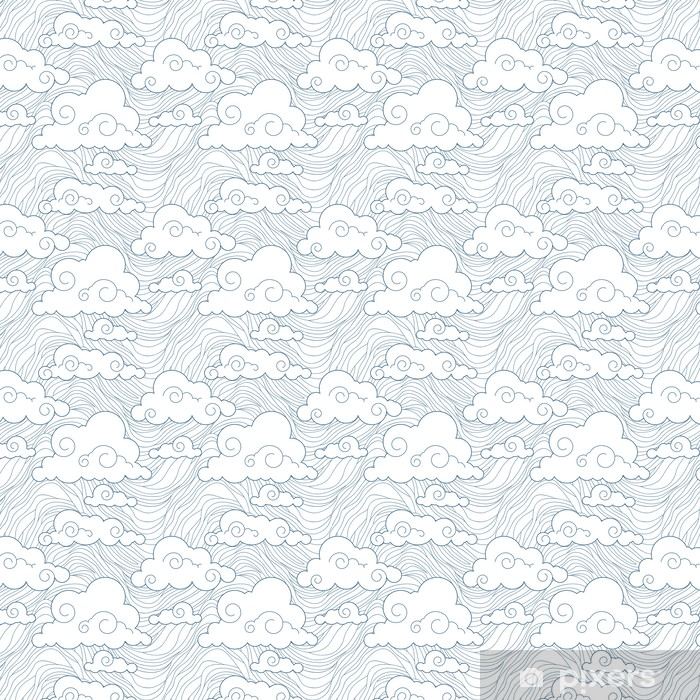 Tapeta na wymiar winylowa Bezproblemowa stylizowany wzór chmury - Niebo