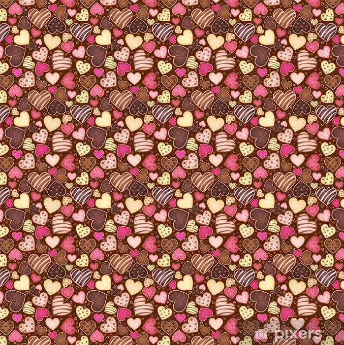 Vinyltapete nach Maß Nahtlose Muster mit Schokolade Süßigkeit in Form Herz - Für Café