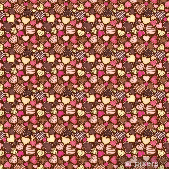 seamless chocolate pattern with sweetmeat in form heart Vinyl Custom-made Wallpaper - Cafe