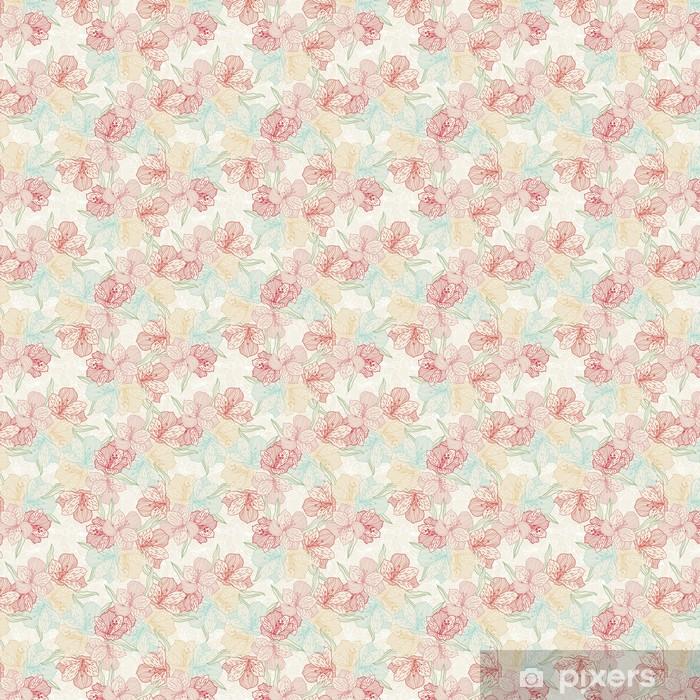 Papel pintado estándar a medida Resumen patrón de flores inconsútil de la vendimia con la orquídea. - Flores
