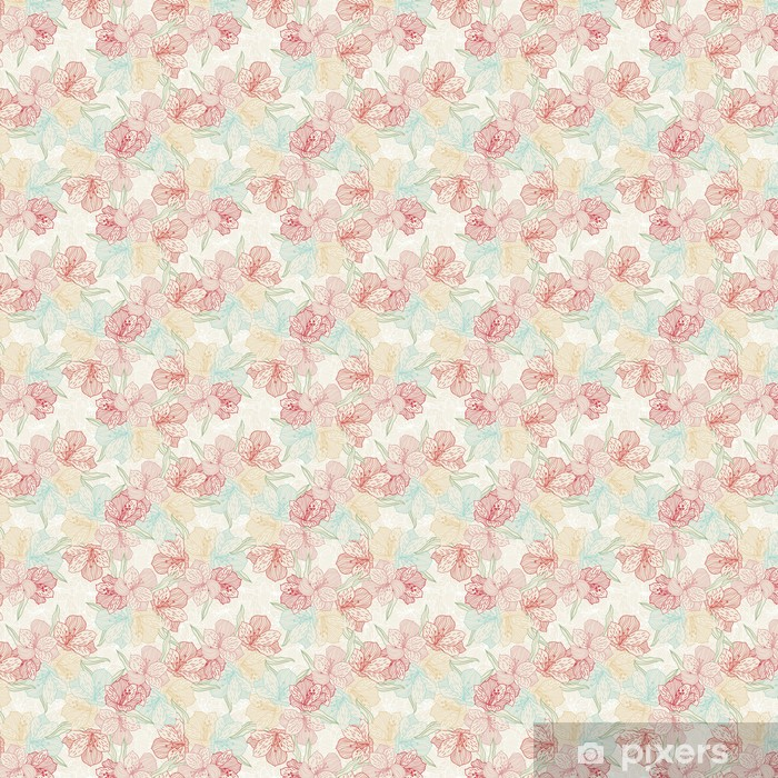 Abstract vintage seamless flower pattern with orchid. Vinyl custom-made wallpaper - Flowers