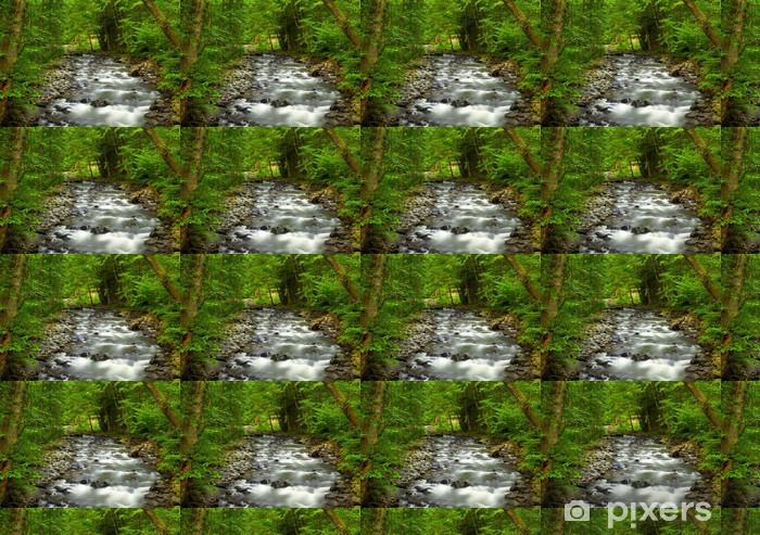 Papier peint vinyle sur mesure River Mountain dans le bois - Merveilles naturelles