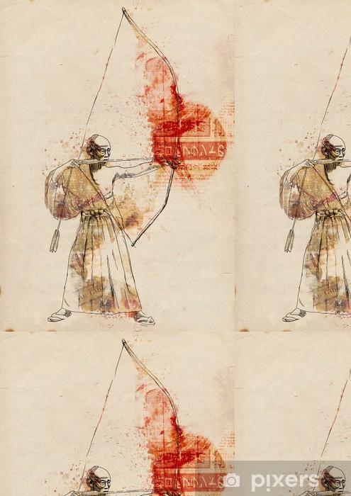 Vinylová Tapeta Kyudo - moderní japonské bojové umění. / Ručně malovaná ilustrace. - Extrémní sporty