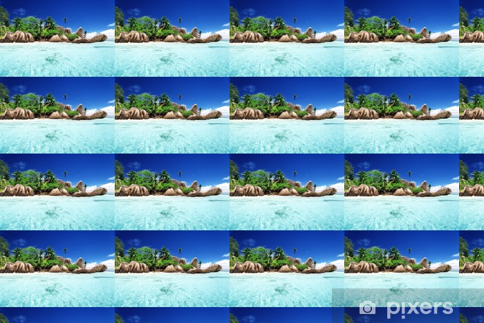 Vinyl behang, op maat gemaakt Anse Source d'Argent strand, La Digue eiland, Seyshelles - Water