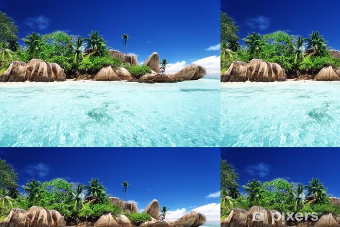 Vinyltapete Anse Source d'Argent Strand, Insel La Digue, Seyshelles - Wasser