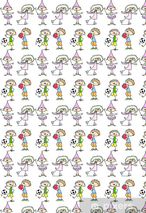 Papier peint vinyle sur mesure Ensemble des enfants doodle - Enfants