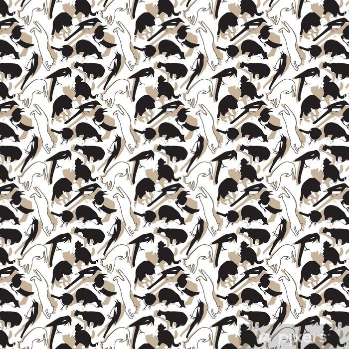 Tapeta na wymiar winylowa Wzór ptaki i koty - Ssaki