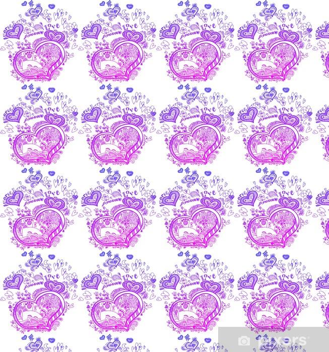Tapeta na wymiar winylowa Miłość szkicowy bazgroły z różowym sercem i kotów. - Znaki i symbole