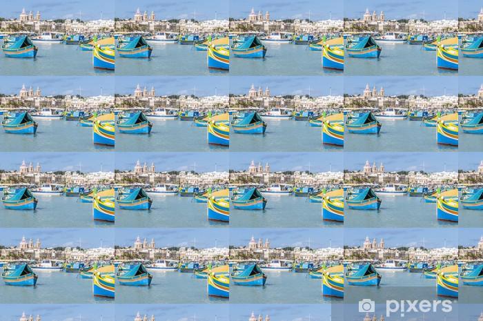Harbor Of Marsaxlokk A Fishing Village In Malta Wallpaper Vinyl Custom Made