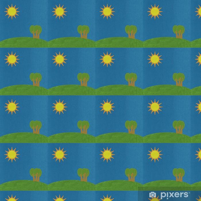 Papier peint vinyle sur mesure Moutain et paysage d'arbre dans le style de point sur fond de tissu - Europe