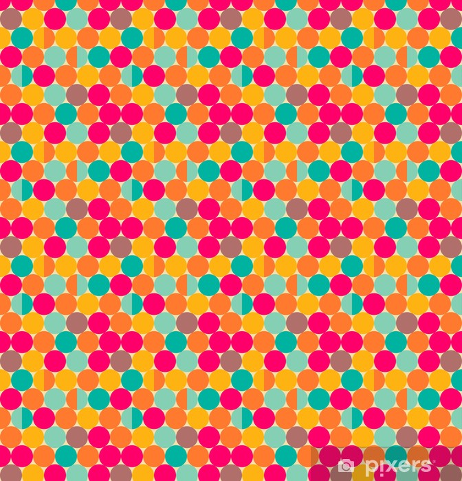 Retro abstract seamless pattern with circles Vinyl custom-made wallpaper - Backgrounds
