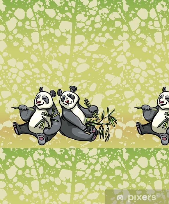 Tapete Zwei Comic Panda Und Bambus Blatter Pixers Wir Leben Um