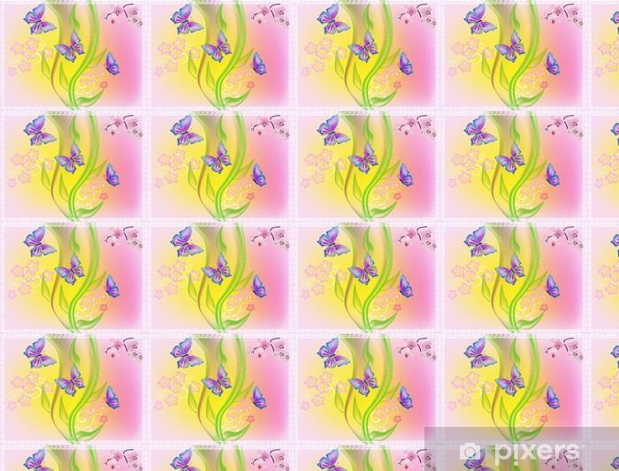 Tapeta na wymiar winylowa Jasne butteflies i proste kwiaty - Inne Inne