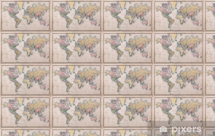 Old Antique World Map on Mercators Projection Vinyl custom-made wallpaper -