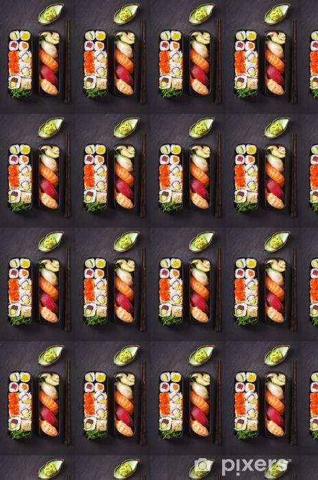 Vinyltapete nach Maß Bento Box mit Sushi und Rollen - Sushi