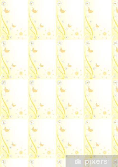 Vinylová tapeta na míru Sfodo floreale giallo farfalline - Roční období