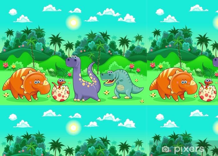 Vinylová Tapeta Funny dinosauři v lese. - Témata