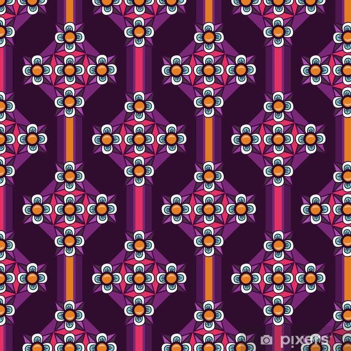 Vinyl Behang Ornament paarse bloemen naadloze achtergrond - Achtergrond