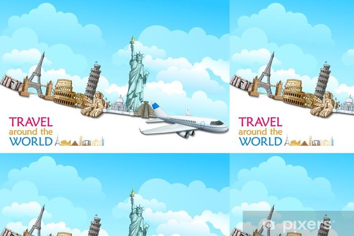 Papel de Parede em Vinil vector illustration of historical monument with airplane - Monumentos