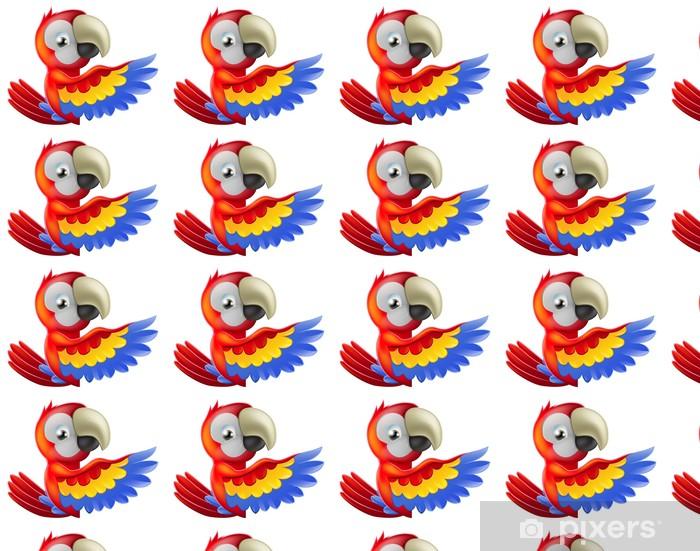 Carta da parati in vinile su misura Rossa che punta pappagallo cartone animato - Adesivo da parete