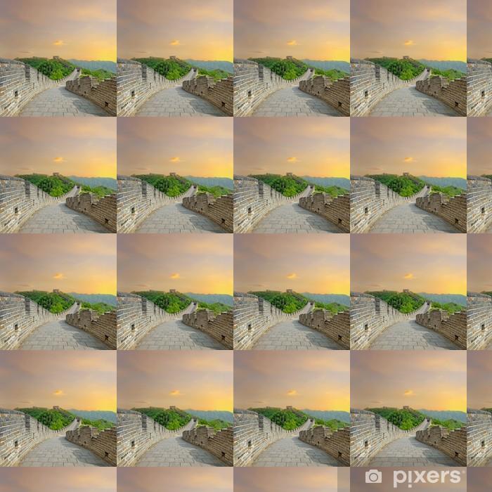 Papier peint vinyle sur mesure Grande Muraille de Chine au coucher du soleil - Villes d'Asie