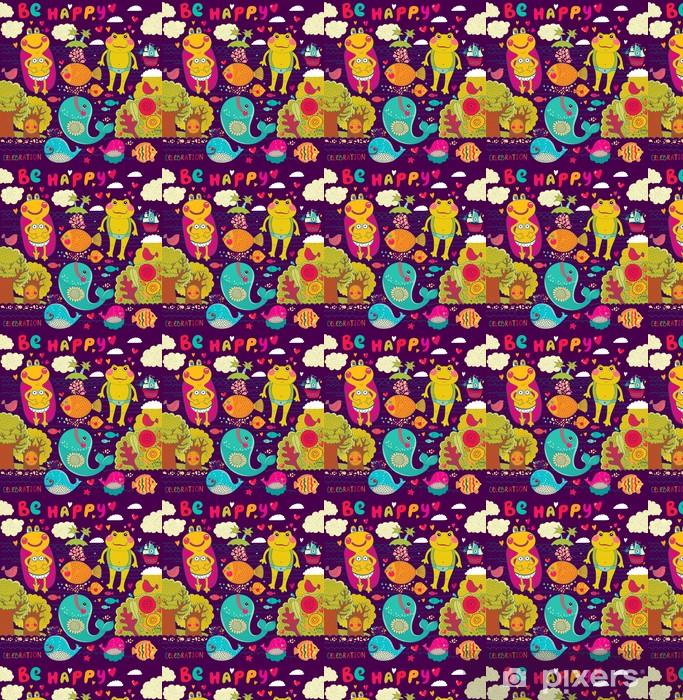 Papier peint vinyle sur mesure Vector illustration de bande dessinée avec des grenouilles heureux - Célébrations