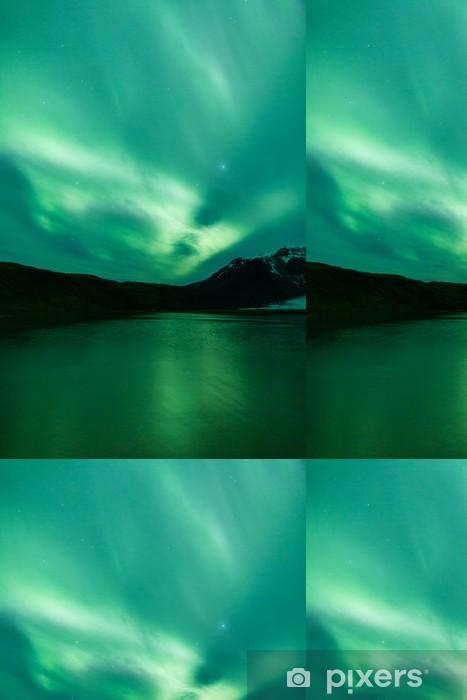 Vinylová Tapeta Polární záře nad lagunou na Islandu - Přírodní krásy