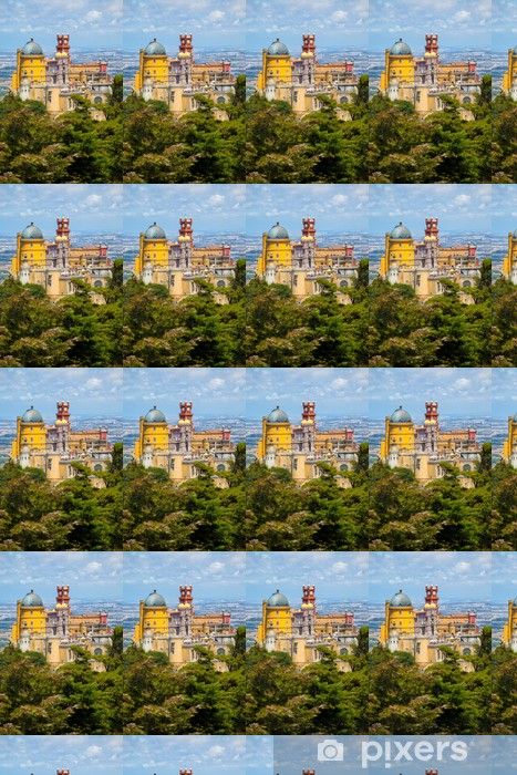 Panorama of Pena National Palace above Sintra town, Portugal Vinyl custom-made wallpaper - Holidays