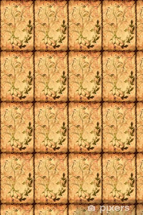 Papel pintado estándar a medida Cartel Retro - patrón floral amarilleado - Texturas