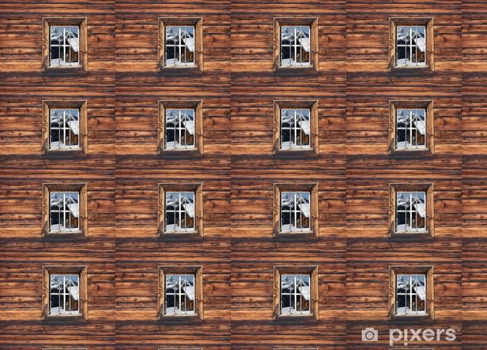 Vinylová tapeta na míru Lyžařská chata v okně - Prázdniny