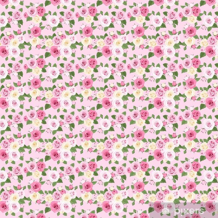 Tapeta na wymiar winylowa Wektor szwu z różowych i białych róż na różowo. - Tekstury
