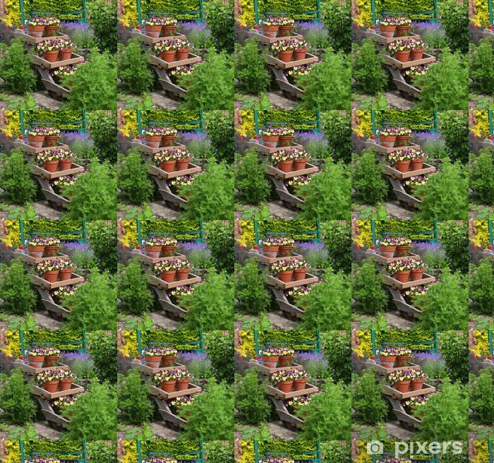 Vinylová tapeta na míru Pansy vyplněno Květináče na stánku - Domov a zahrada