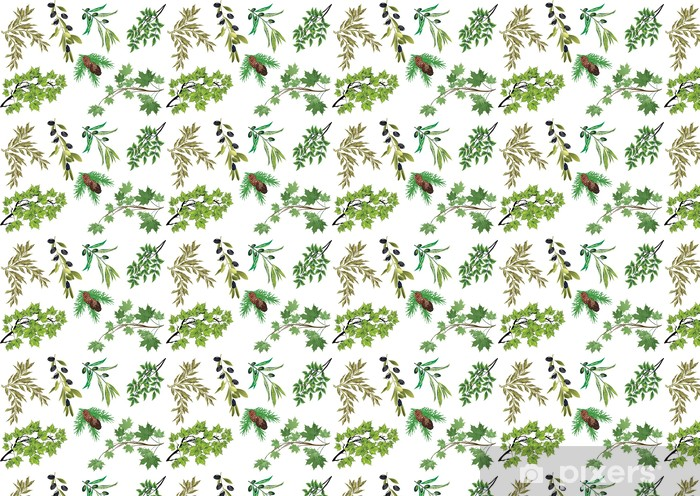 Papel pintado estándar a medida Conjunto de ramas de árboles aislados en blanco - Árboles